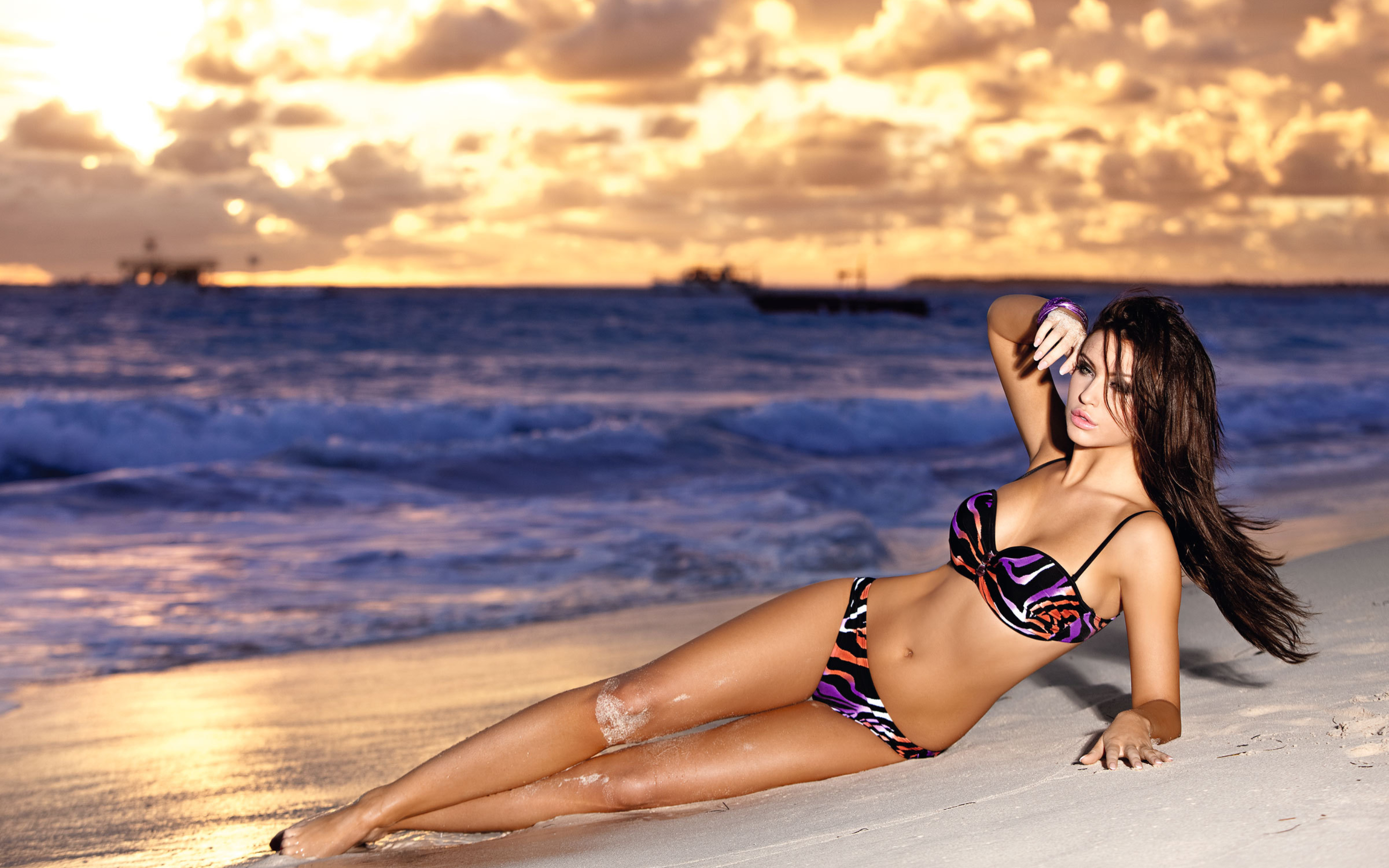 cool model in laying beach